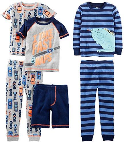 Simple Joys by Carter's Baby Boys' Toddler 6-Piece Snug Fit Cotton Pajama Set, Racer Cars/Iguana, 3T