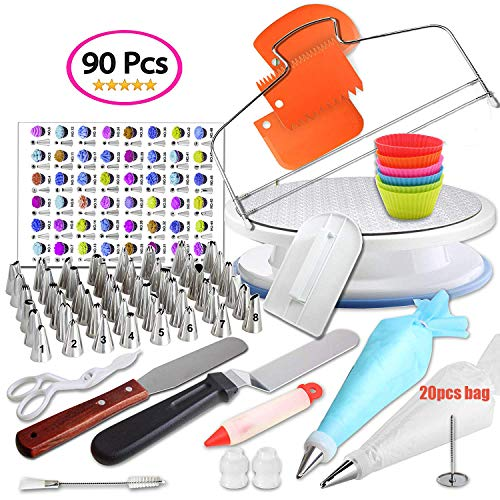 AILELAN Cake Decorating kit, 90 Pcs Cake Decorating Supplies Kit for Beginners, Icing Spatula Smoother Pastry Tools