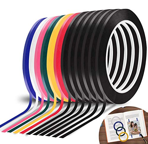 """12 Rolls Whiteboard Tape, 1/8"""" X 72yd Graphic Chart Tape Vinyl Tape Self-Adhesive Artist Tape, 7 Color, 72 Total Yards"""