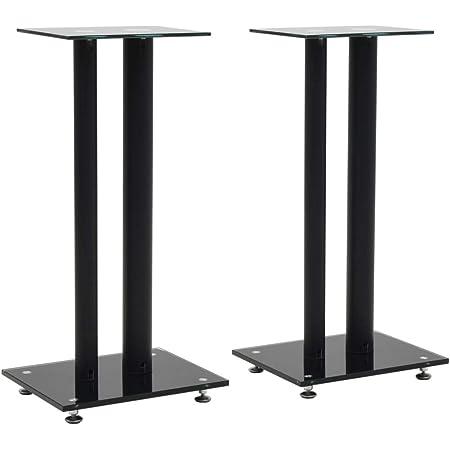 Vidaxl 2x Lautsprecherständer Doppelsäulen Glas Schwarz Boxen Ständer Stativ Küche Haushalt