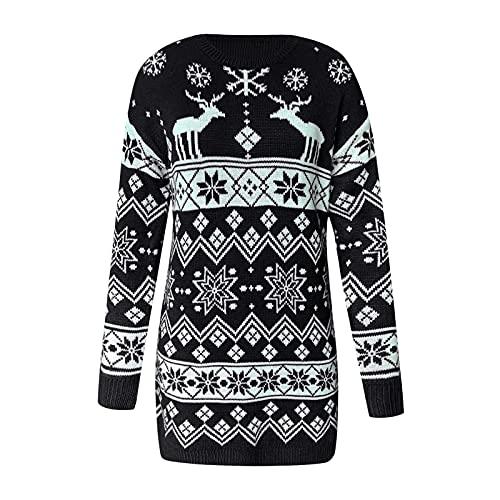 Baiomawzh Damen Weihnachten Strickpullover Pulloverkleid Schneeflocke Drucken Strickkleid Bodycon Langarm Kleid Christmas Gedruckt Langarmshirt Weihnachtskleid Elegant Wickelkleid Partykleid