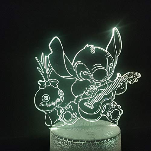 Famous Cartoon Stitch Dog Plays The Guitar 3D LED Night Light USB Table Lamp Kids birthday Gift Bedside home decoration