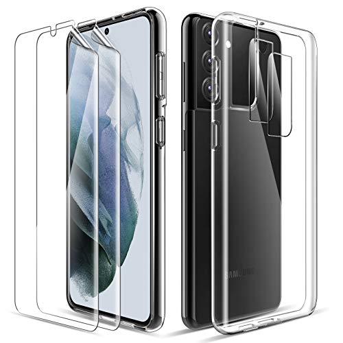 LK Cover Compatibile con Samsung Galaxy S21 Plus Custodia, 2 Pezzi Pellicola Protettiva & 2 Pezzi Pellicola Fotocamera, Morbido TPU Protezione Case-Trasparente