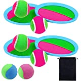 Aneco Toss and Catch Ball Set Toys Self Stick Paddle Game Set for Sports, Beach and Game Prizes with Storage Bag, 4 Paddles and 6 Balls