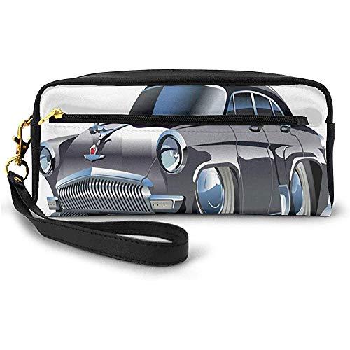 Retro-inspiriertes Auto-Design mit asymmetrischen Reifen Schnelles Auto Beschleunigung Cooles Logo Kleine Schminktasche mit Reißverschluss Federmäppchen 20cm * 5,5cm * 8,5cm