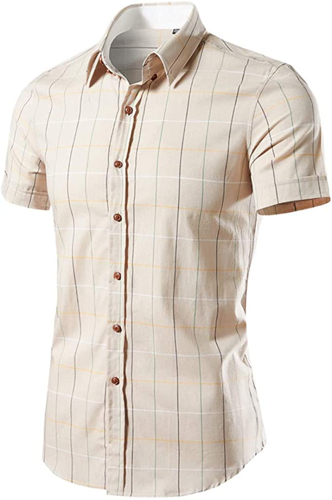 MODOQO Shirt for Men-Fashion Business Leisure Short-Sleeved Lattice Printing Business Dress Shirt