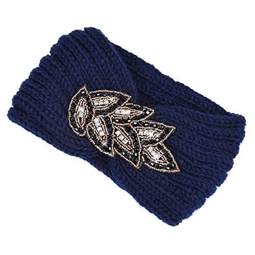 TININNA Serre-tête Bandeau Bande de Cheveux Laine Tricoté Turban Elastique Couvre-Oreille Head Wrap Chapeaux pour Femme Fille - Bleu - Taille unique