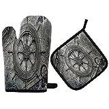 TropicalLife ADMustwin Juego de guantes de horno y soporte para ollas con forro de algodón para colgar, juego de 2 piezas