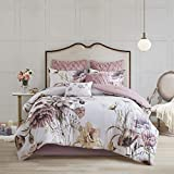 Madison Park Cassandra 8 Pc 100% Cotton Percale Large Floral Print with Reverse Solid Embroidered and Tufted Toss Pillows Shabby Chic All Season Comforter Bedding Set, King, Blush