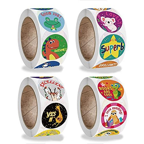 Yovige Rollo de pegatinas, pegatinas de recompensa para niños, suministros para maestros, dibujos animados motivacionales, pegatinas para ir al baño, 4 rollos, 2000 piezas