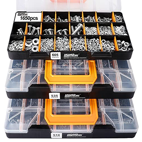 HongWay 3 Trays 1,650 Pieces Deluxe Hardware Fasteners Assortment Kit with 64 Sizes in Detachable and Combinable'No Mix' Case, Bolts, Nuts & Washers Assortment and Metal & Wood Screws Assortment