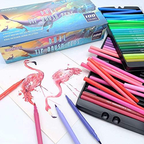 GC QUILL GC-100C -Watercolour Brush pens,Assorted Colours,Pack of 100 Rotulador de Doble Punta de Fibra acuarelable, Multicolor