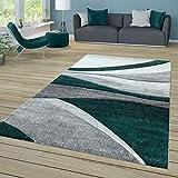 TT Home Alfombra de salón de Pelo Corto con diseño de Ondas, Color Gris Oscuro y Verde Claro, 200 x 290 cm