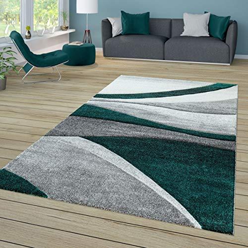 TT Home Tapis de salon à poils courts avec motif vagues, gris foncé, gris clair, vert - Dimensions : 160 x 230 cm