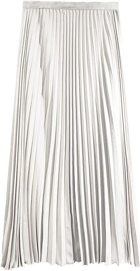 G-dress Globalwells Women Chiffon Pleated Midi Skirt High Waist Swing Boho Pleated Skirt Casual Elastic A-line Long Skirts