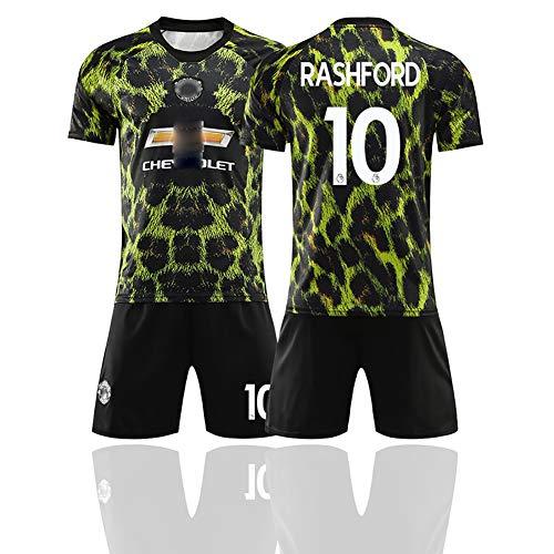 GWCASA Ropa de fútbol para Hombres Edición Conmemorativa Uniforme de fútbol Leopardo 10# Rashford 6# Pogba Conjunto de Uniforme de Entrenamiento de fútbol-10#-S