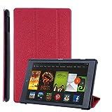 COOVY® Custodia ultra magro per Amazon Kindle Fire HD 8 (7. / 8. Generation, Model 2017/2018) Cover con Funzione di Supporto, Auto Svegliati/Sonno I rosso