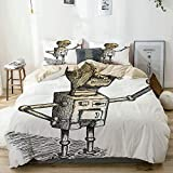 Popun Juego de Funda nórdica Beige, Tema Dibujado a Mano del Dibujo de Robot, Personaje de Humor, ilustración artística, Juego de Cama Decorativo de 3 Piezas con 2 Fundas de Almohada