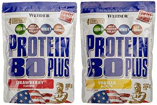 WEIDER Protein 80 Plus Eiweißpulver, 2 Pack Mixed, Vanille/Erdbeer, Low-Carb, Mehrkomponenten Casein Whey Mix für Proteinshakes, 2x500g