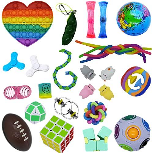 Fidget Toys - Pack de juegos Pop it, Push Bubble, Pelota y Plus, juego de juguete sensorial y antiestresas, silicona, juego multicolor para regalo de cumpleaños o Navidad, para niños + 4 años, adultos