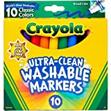 Crayola Ultra Clean Washable Markers, Broad Line, Classic Colors,...