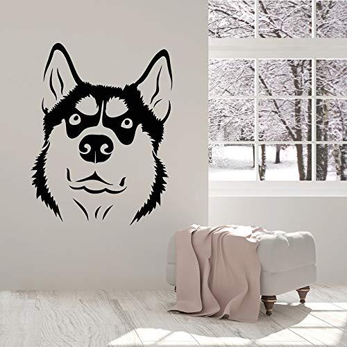 Funny Dog Wall Decal Head Husky pet House Animal Art Door Window Vinyl Sticker Kids Bedroom Living Room Home Decoration Mural