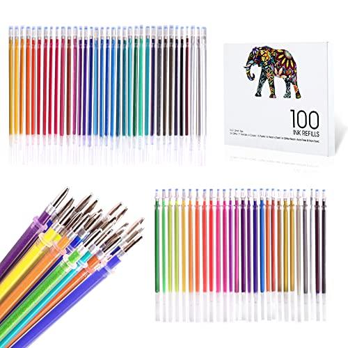 ZSCM 100 colores recargas de tinta para bolígrafos de gel, recargas de bolígrafos de tinta de gel de neón con purpurina, cartuchos de repuesto para juego de bolígrafos de gel con purpurina