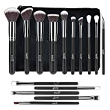 MSQ Makeup Brush Set 15pcs Professional Cosmetic Brushes with Makeup bag for Foundation, Powder, BB Cream, Eyeliner, Concealer Best for Gifts & Travel (Black)