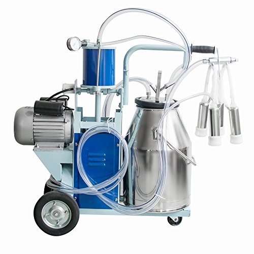 Genmine Electric Milking Machine 550W 1440rmp/min Agricultural Portable 304 Stainless Steel Milker Machine Single Bucket 25L For Farm Cows Goats (US IN STOCK)