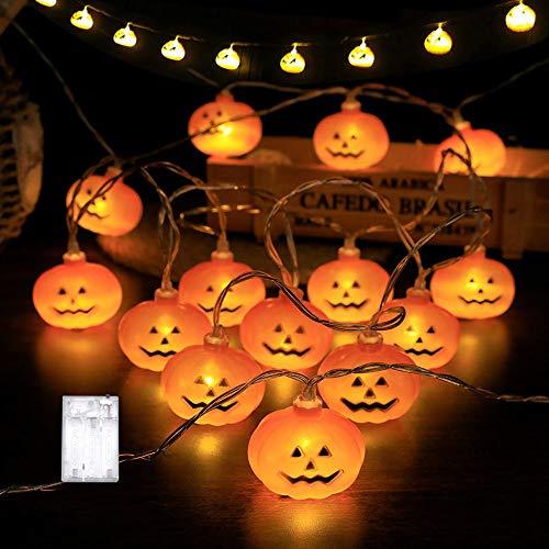kürbis Deko Lichterkette, 3M 20 LEDs Pumpkin Lichter Schnur Außen Innen LED Lichterkette für Halloween Party Dekoration Accessoires für Garten Zimmer Fenster