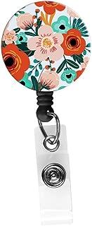 Retractable Badge Reel Alligator Clip,24in Nylon Cord, Nurse Badge ID, Badge Holder, ID Holder, Office Employee Name Badge-Trendy Floral Pink and Orange