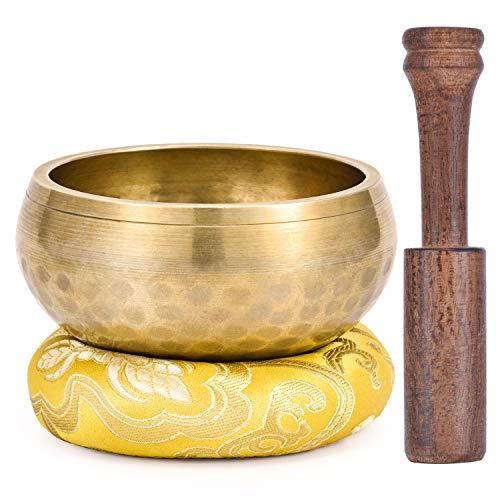 Moukey Tibetische Klangschalen 9.5cm Klangschalen Set mit Klöppel und Kissen für Yoga, Achtsamkeit Meditation, Entspannung, Stress & Angstreduktion, Chakra Heilung