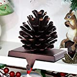 MINILIFE Pine Cones Christmas Stocking Holders Christmas Mantel Stocking Hangers Christmas Décor Ornaments for Home Fireplace, Shelf