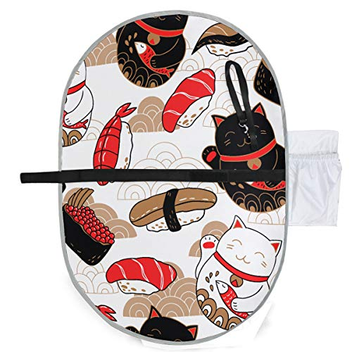 Muster Oriental Style Sushi Katze Kleinkind Windel Wickelunterlage Windel Wickelunterlagen 27x10 Zoll Wasserdicht Faltbare Matte Baby Tragbare Wickelstation Wickelunterlage Wasserdicht