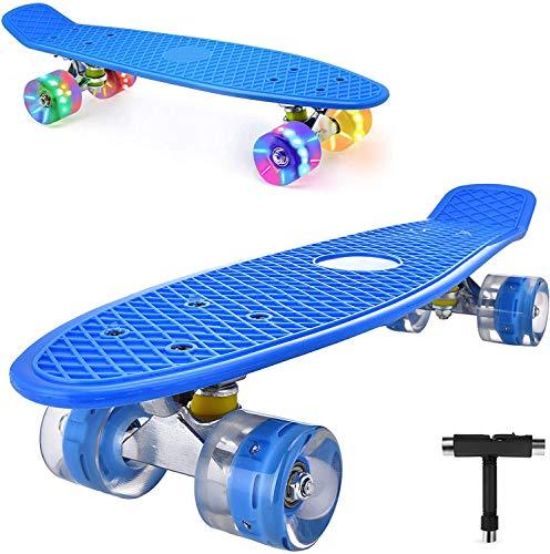 DaddyChild Mini Cruiser Skateboard Retro Komplettboard, 56cm Vintage Skate Board mit Kunststoff Deck und blinkenden LED-Rollen, Cruiser-Board mit LED Leuchtrollen für Erwachsene Kinder Jungen (Blue)