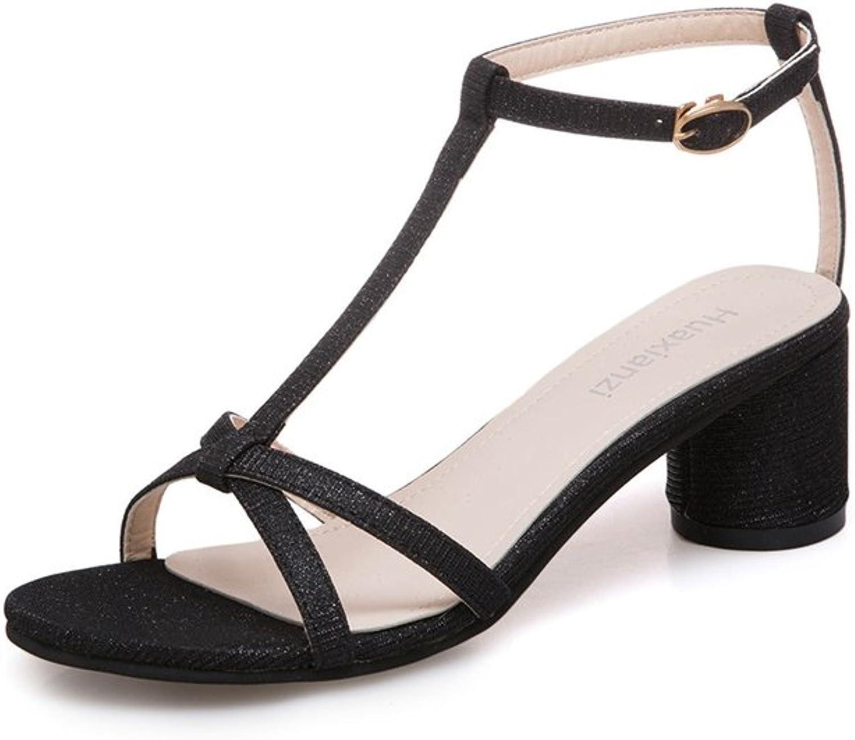 Women's Simple Heeled Sandals Mid-Heel Open Toe T-Type Strap Dress shoes for Ladies Wedge Platform