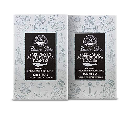 Kleine Sardinen in scharfem Olivenöl   Sardinen aus Galizien   Silver Line   2 x 115 g   12 / 16 Stück   Ramon Pena   Spanien