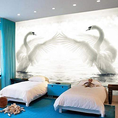 ZJfong Romantische witte kuipen fotobehang dieren zijde fotobehang kunst woonkamer sofa achtergrond 3D wandschilderijen 220 x 140 cm.