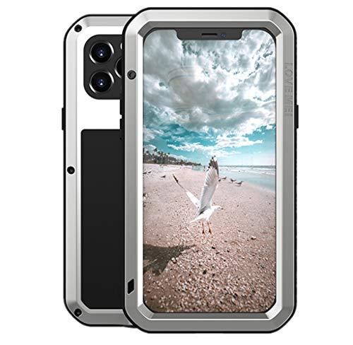 LOVE MEI para iPhone 12 Pro Funda, Heavy Duty Antigolpes Impermeable a Prueba de Polvo Cubierta Híbrido Metal Aluminio+Silicona Funda para iPhone 12 Pro 6.1'' con Vidrio Templado (Plata)