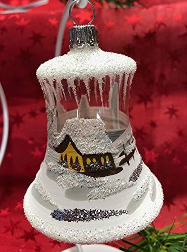 Christbaum-Glocke Mini + Weihnachts-Glöckchen aus Glas + Handarbeit aus Lauscha