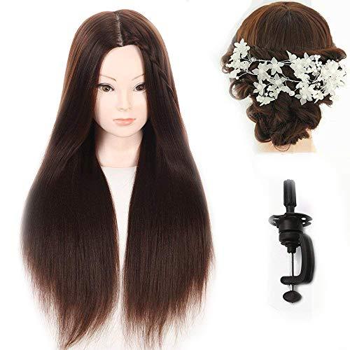 Cabeza de maniquí de peluquería, pelo sintético, incluye abrazadera y...