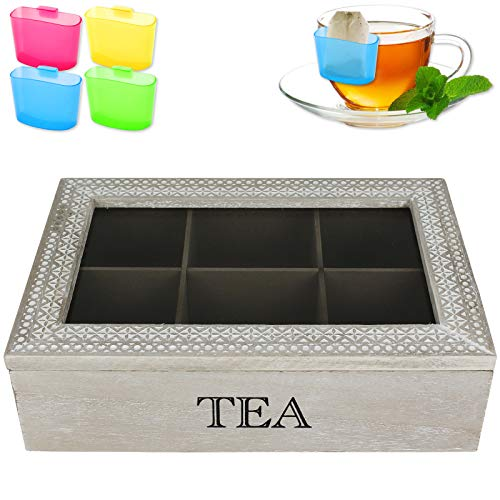 Teekiste 6 Fächer Shabby chic inkl. Teebeutel-Halter Teebox Tee Teekasten Teedose Teebeutelbox Teebeutelkiste
