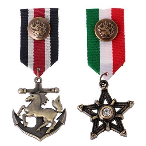 2 Piezas Vintage de Hombres Estrella Medalla Insignia Ropa Traje Azul Marino Broche