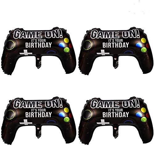 tiopeia 4 Stück Videospiel Party Ballons, Aluminium Folienballon in Gamepad-Form, Gaming Thema Partyzubehör Set für Junge Geburtstagsparty, 64 x 40 cm