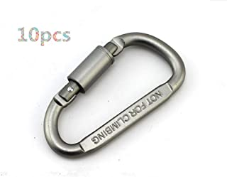 Toasis D Carabiner Clip Aluminum Spring Snap Hook Key Chain Buckle Pack of 10