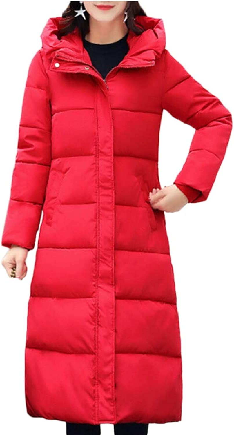 Gocgt Women Slim Down Jackets Solid Casual Hooded Thicker Coats