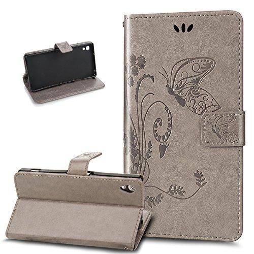Kompatibel mit Sony Xperia Z2 Hülle,Sony Xperia Z2 Lederhülle,Prägung Groß Schmetterling Blumen PU Lederhülle Flip Hülle Ständer Karten Slot Wallet Tasche Hülle Schutzhülle für Sony Xperia Z2,Grau
