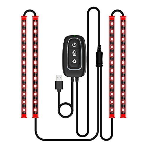 Nrpfell Auto LED Innen Beleuchtung Streifen LED Leuchten APP Gesteuert Wasserdichtes Mehr Farbiges Musik Sound Aktiviertes USB Port LadegerrT