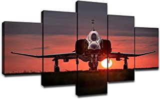 F-4 Phantom II US Air Force Fighter Bomber Interceptor Aircraft Pictures, Wall Art Wall Decor Military Fighter Jet Poster 5 Panel Canvas Artwork Wooden Frame Ready to Hang(60''Wx32''H)