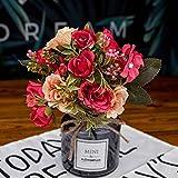 Yamer 2 Batch Künstliche Seide Gefälschte Blumen Bouquet Knospe Seide Rosen Simulation Grüne...